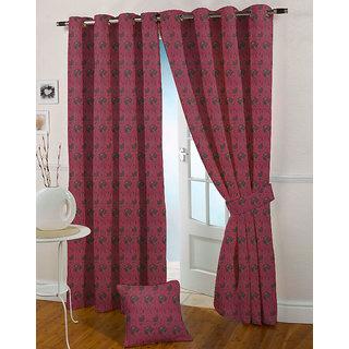 Presto Dark Pink Colour Jacquard Eyelet Long Door Curtains(9Ft)-ICSA17F9