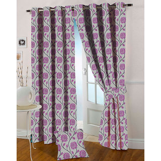Presto Pink Colour Jacquard Eyelet Long Door Curtains(9Ft)-ICVG04F9
