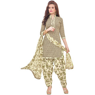 Meia Beige Printed and Dress Material 498D3011 Unstitched