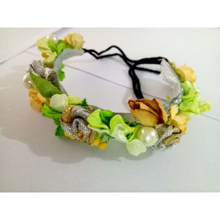 Osking Hair Gajra Hair Veni Flowers South Indian Gajras Hair Styling Accessories - Green Golden Flowers Style