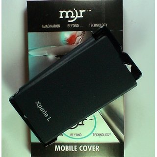 MJR Flip Cover For Sony Xperia L Black + MJR Screen Guard FREE