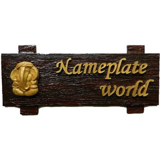 Buy Designer Name Plate For Home Brown Forest Wooden Nameplate By