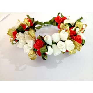 Osking Hair Gajra Hair Veni Flowers South Indian Gajras Hair Styling Accessories - Red and White Flowers Style