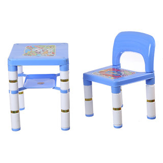 NHR Portable learning kids table chair (Blue)
