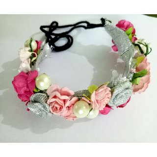 Osking Hair Gajra Hair Veni Flowers South Indian Gajras Hair Styling Accessories - Pink and Silver Flowers Style