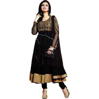 Black Solid Semi-stitched Salwar Suit Dupatta Material