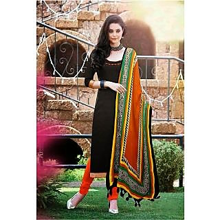 Style Amaze Presents Cotton Black  Orange Straight Suit With Printed Dupatta-SASUNDAY-1085 (Unstitched)
