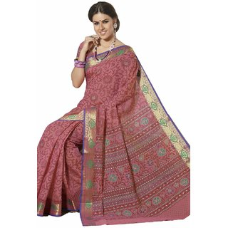 Sudarshan Silks Admirable Cotton Brown Printed Saree