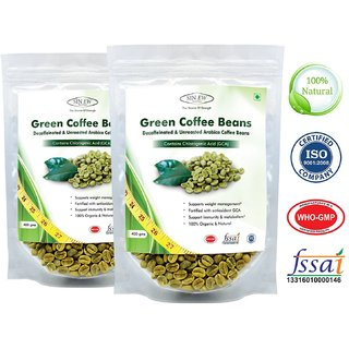 Sinew Nutrition Green Coffee Beans Decaffeinated  Unroasted Arabica Coffee -400gm (Pack of 2) for weight management