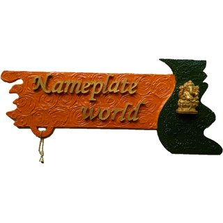 Designer Name Plate for home - Divine Saffron wooden nameplate by NameplateWorld