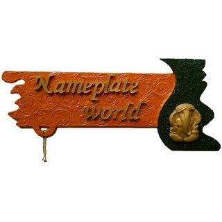 Buy Designer Name Plate For Home Divine Saffron Wooden Nameplate