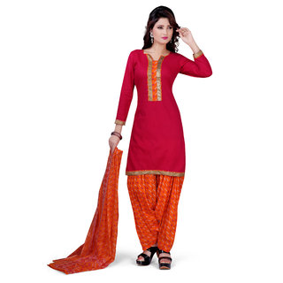 Pari Pink Polyester Printed Salwar Suit Material (Unstitched)