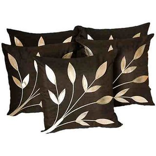 Leaves Patch Cushion cover black(5 Pcs Set)