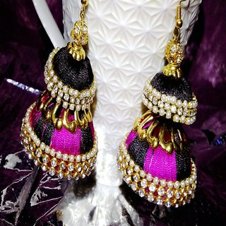 hand made jhumki pink and Black