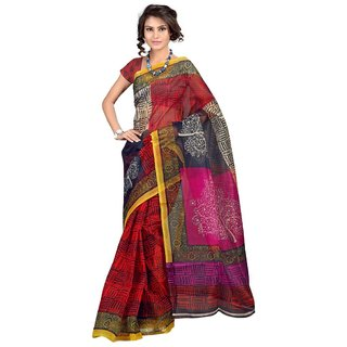 Triveni Multicolor Net Printed Saree With Blouse