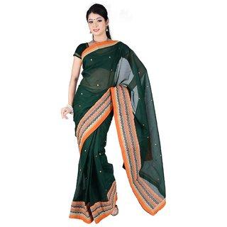 Triveni Multicolor Cotton Embroidered Saree With Blouse
