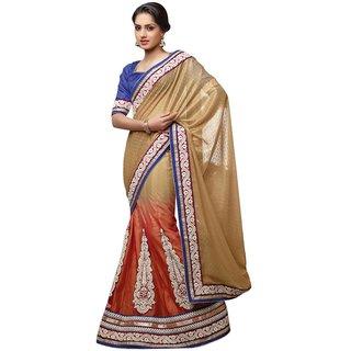 Triveni Multicolor Net Self Design Saree With Blouse