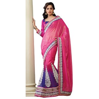 Triveni Multicolor Net Self Design Lehenga Saree With Blouse