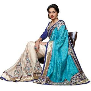 Triveni Multicolor Jacquard Self Design Saree With Blouse