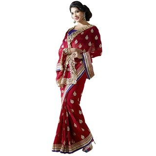 Triveni Golden Georgette Embroidered Saree With Blouse