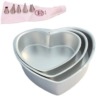 NOOR COMBO OF  ICING BAG (25 CM), WITH 5 NOZZLES AND SET OF 3 HEART SHAPE CAKE MOULDS