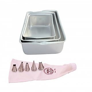 NOOR COMBO OF  ICING BAG (25 CM), WITH 5 NOZZLES AND SET OF 3 SQUARE SHAPE CAKE MOULDS