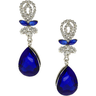 Anuradha Art Blue Colour Studded Shimmering White Colour Stone Party Wear Fancy Long Earring For Women/Girls