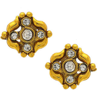 Anuradha Art Golden Colour Styled With Studded White Colour Stone Traditonal Long Earrings For Women/Girls