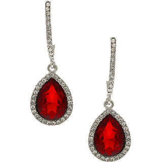 Anuradha Art Red Colour Studded Shimmering Stone Wonderful Classy Party Wear Fancy Long Earring For Women/Girls