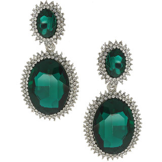 Anuradha Art Green Colour Studded Shimmering Stone Wonderful Classy Party Wear Fancy Long Earring For Women/Girls