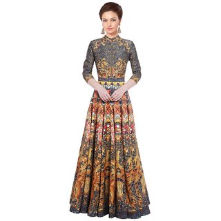 d4069a874a239 Buy Designer Party Wear Gown- Long Gown - Printed Gown - Below Knee ...
