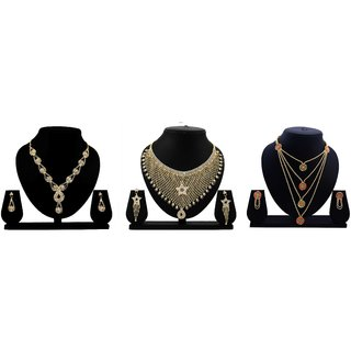 Dealseven Fashion Presents Golden Color Alloy Set Of 3 Jewelery Set.