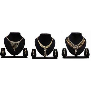 Dealseven Fashion Presents Golden Color Alloy Set Of 3 Jewelery Set.