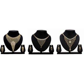Bahucharaji Creation Presents Golden Color Alloy Set Of 3 Jewelery Set.