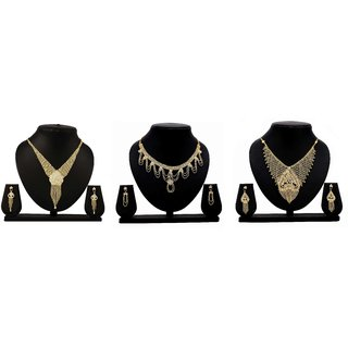 Bahucharaji Creation Presents Golden Color Alloy Set Of 3 Jewelery Set.