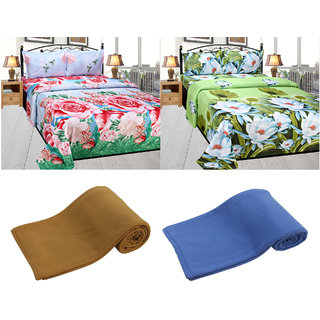 Azaani Beautiful 2 Polycotton Floral Double Bedsheet With Two Solid Ac Blanket