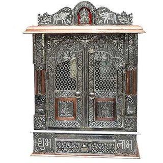 Mandir 15 x 9 Aluminium - Copper Oxidize Carving Temple (Door Mandir)
