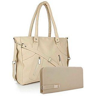 Clementine Premium PU Leather Women's Handbag With Adjustable Strap (Beige Color/sskclem222)