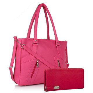 Clementine Premium PU Leather Women's Handbag With Adjustable Strap (Pink Color/sskclem224)