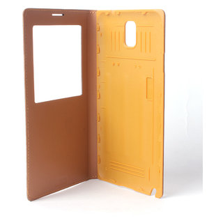 Callmate Window Luxary Flip Cover for Samsung Note 3 with Free SG  -Brown
