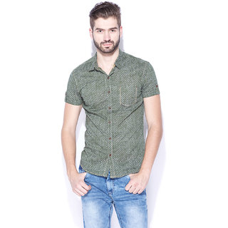 13a812c40e Buy Mufti Mens Olive Slim Fit Mid Rise Casual Shirts Online   ₹799 ...
