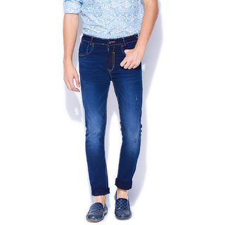 Mufti Mens Dark Blue Carrot Fit Mid Rise Jeans