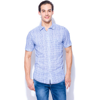 3c47f84772 Buy Mufti Mens White And Royal Slim Fit Mid Rise Casual Shirts ...