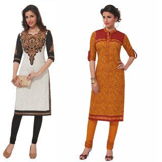Pari Multi Color Printed Khadi Women's Unstitched kurti Combo of 2