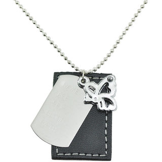ALPHA MAN Wings of the Freedome Leather Tag Steel-Silver Neckpiece