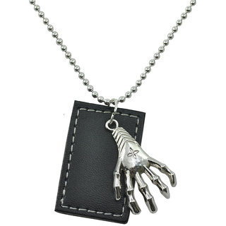 ALPHA MAN Break Free From The Claw Leather Tag Steel-Silver Neckpiece