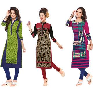 Pari Multi Color Printed Cotton Women's Unstitched kurti Combo of 3
