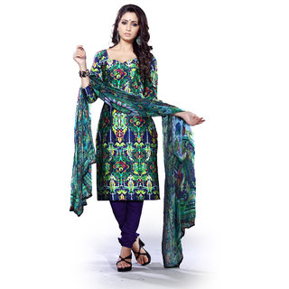 Printvaganza Multi Colour Digitally Printed Suit Dupatta Set