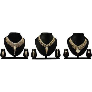 Dealseven Fashion Presents Golden Color Alloy Set Of 3 Neckless Set.