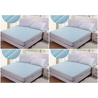 AS Non Woven Fabric Set of 4 Waterproof  Double Bed Mattress Protector sheet with Elastic straps-Assorted
